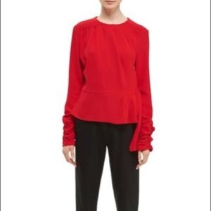 TOPSHOP Boutique red Ruched Peplum Top